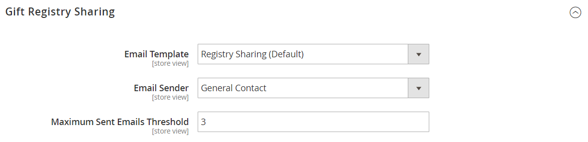 Customers configuration - gift registry sharing