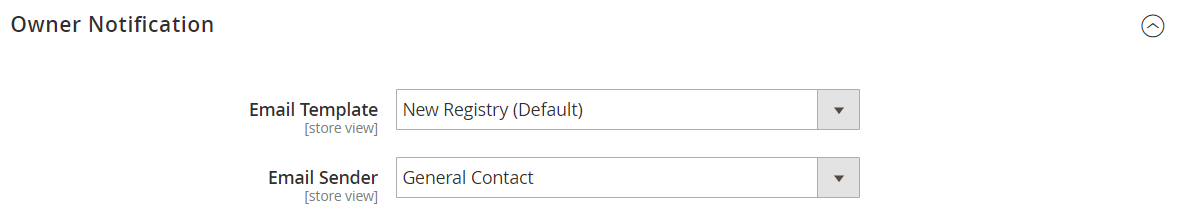 Customers configuration - gift registry owner notification