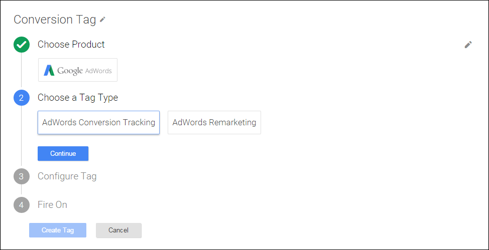 Google Tag Manager - Adwords conversion tracking