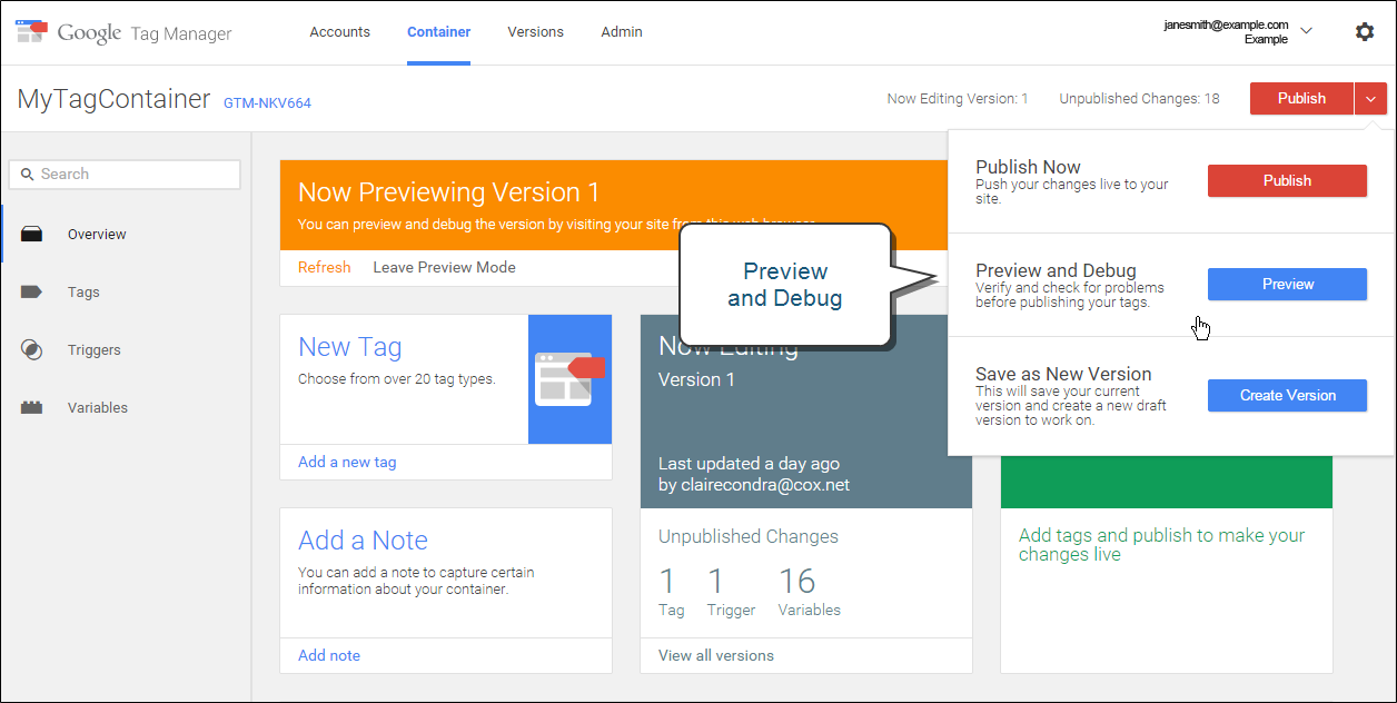Google Tag Manager - preview and debug