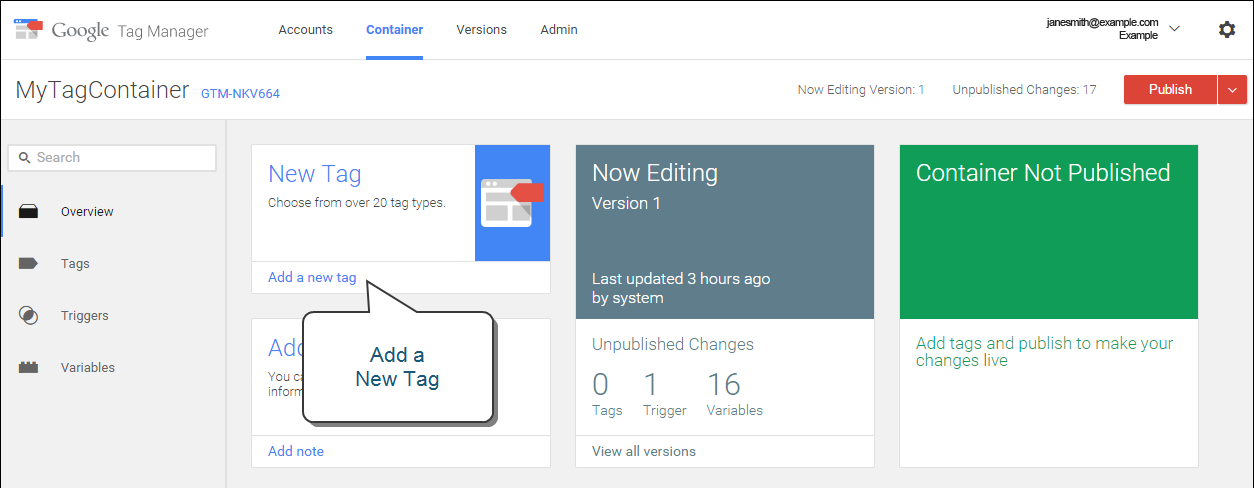 Google Tag Manager - new workspace