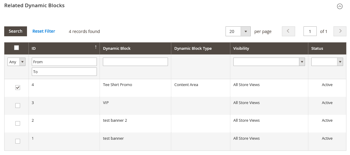Catalog price rule - related dynamic blocks