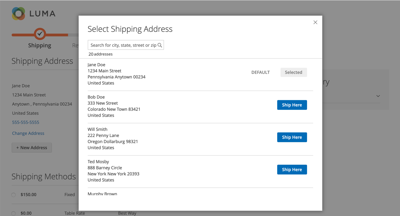 Luma storefront checkout with saved shipping addresses displayed