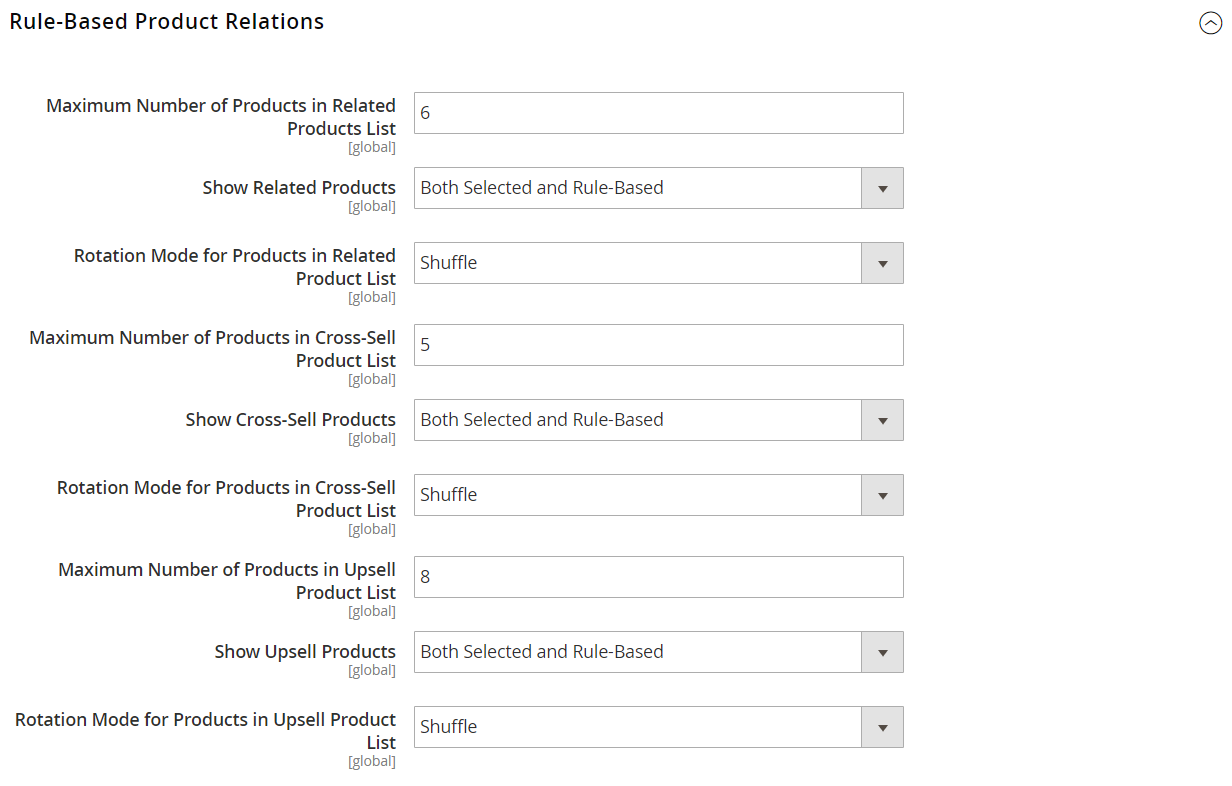 Catalog configuration - rule-based product relations