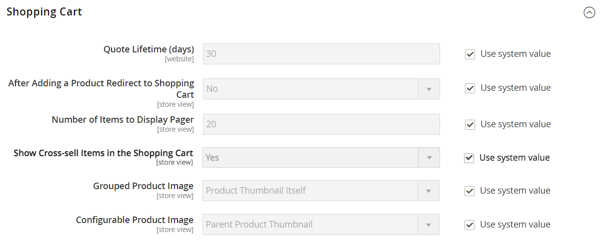 The shopping cart configuration settings expanded on the page