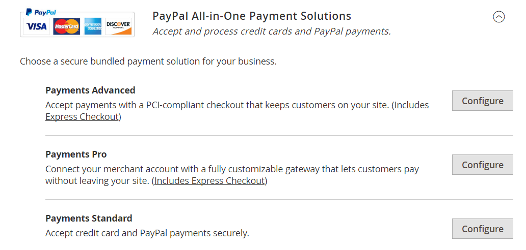 PayPal all-in-one payment Solutions