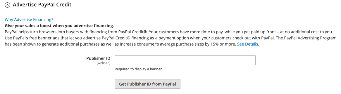 Advertise PayPal Credit