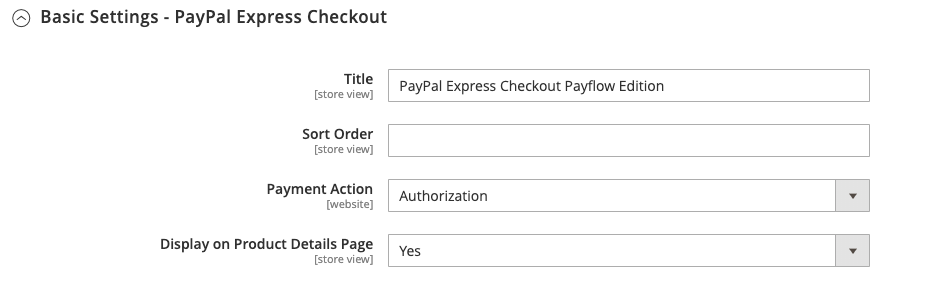 Express Checkout Basic Settings