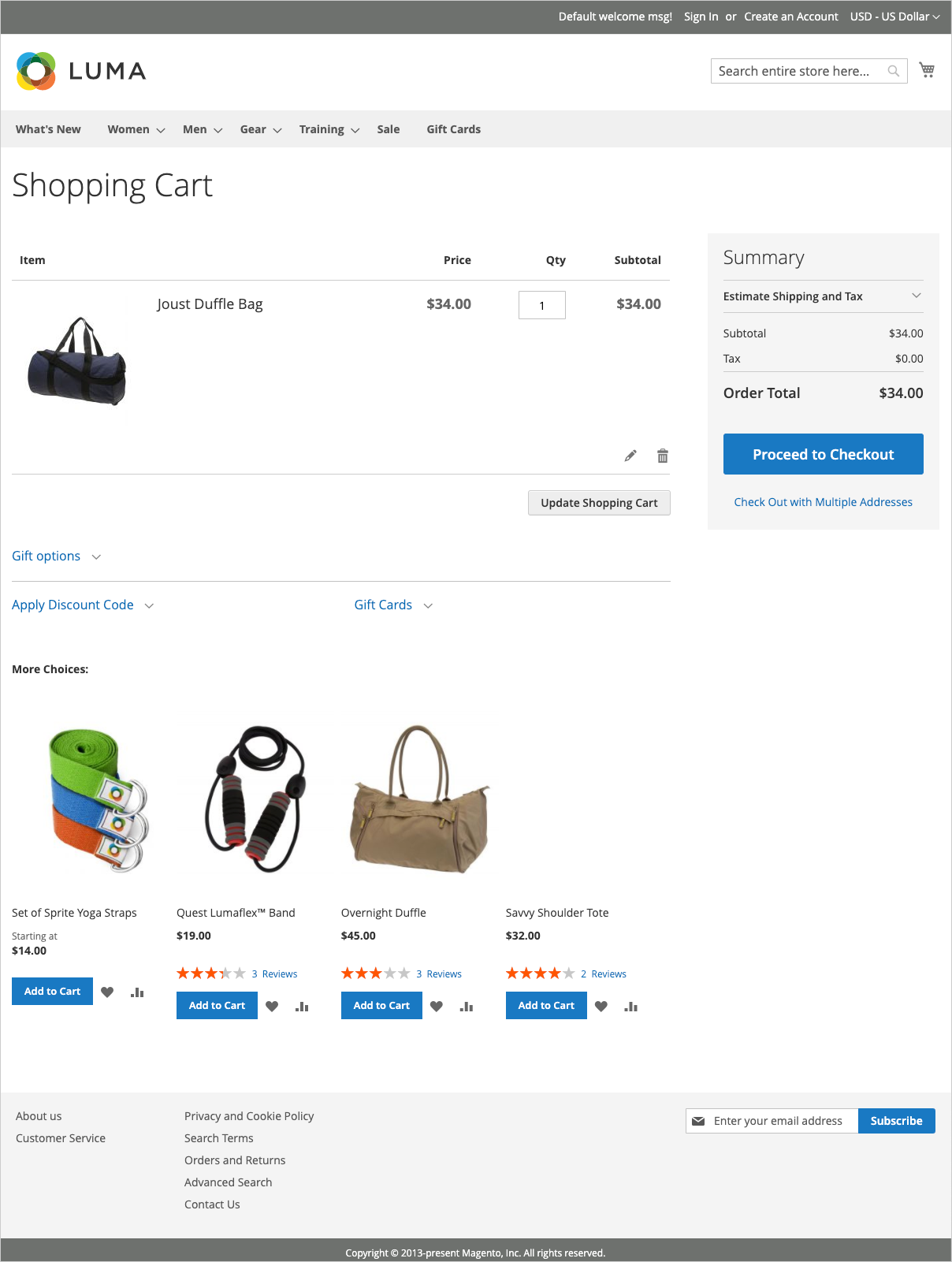 The shopping cart page displays tools the shopper can use to manage the products for their order