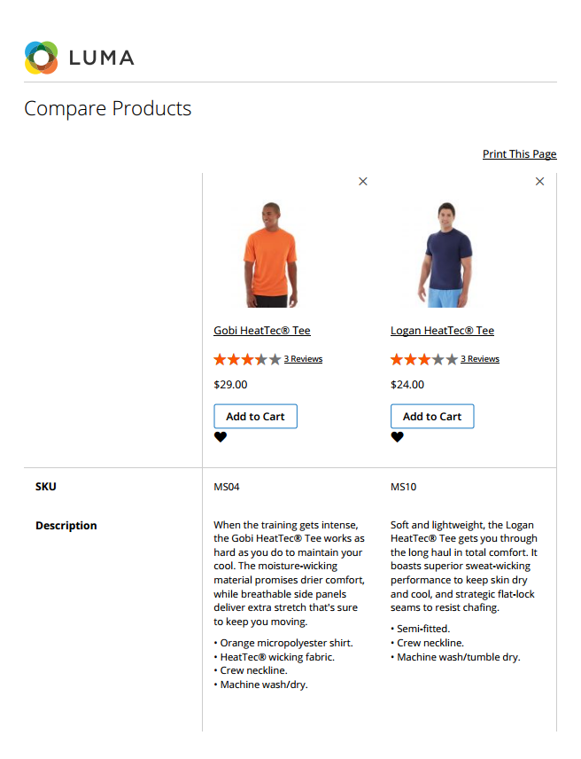 Example storefront - compare products