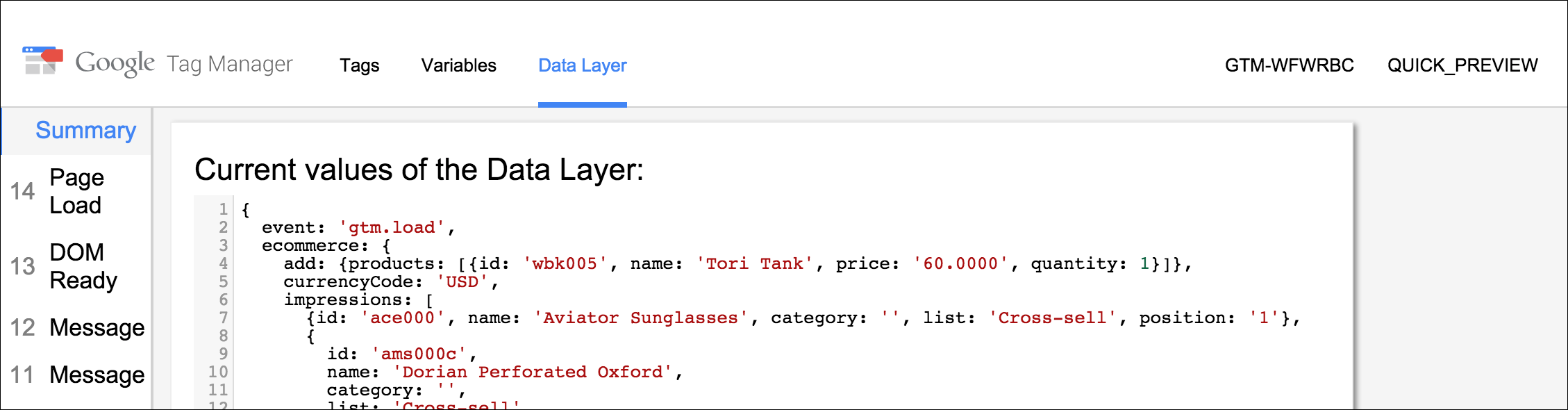 Google Tag Manager - data layer