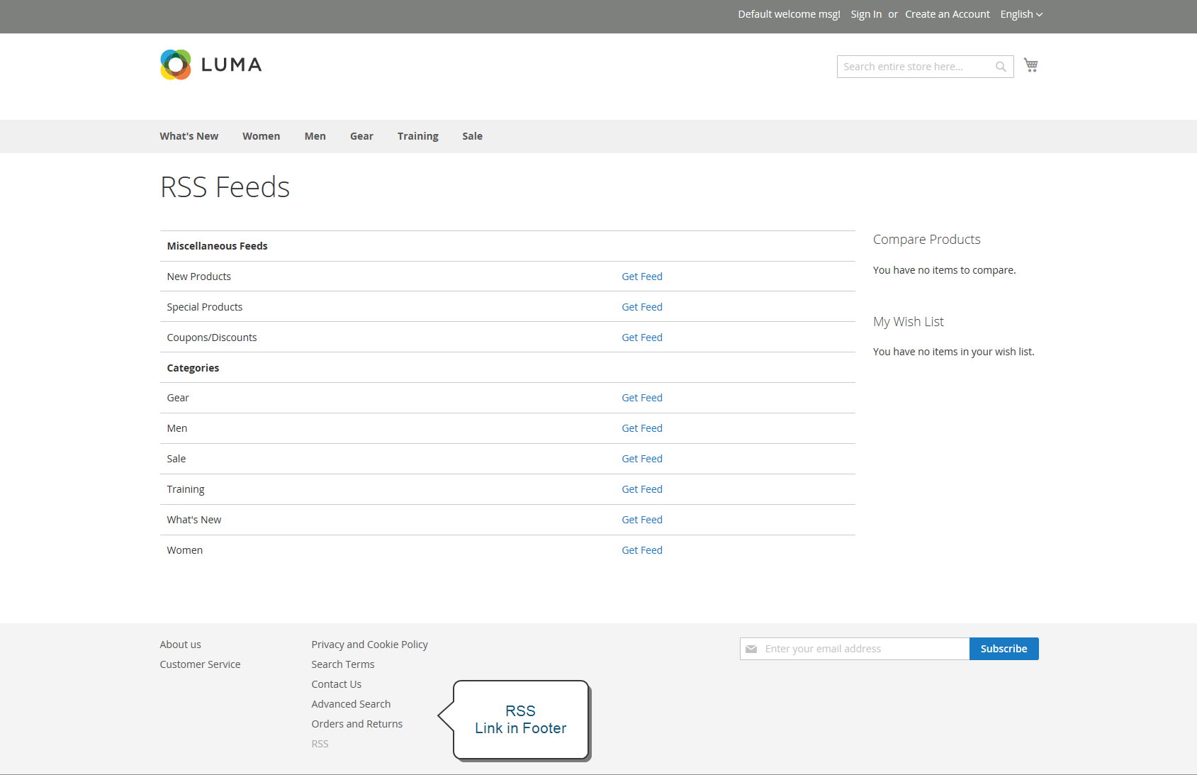 Example storefront - RSS feed